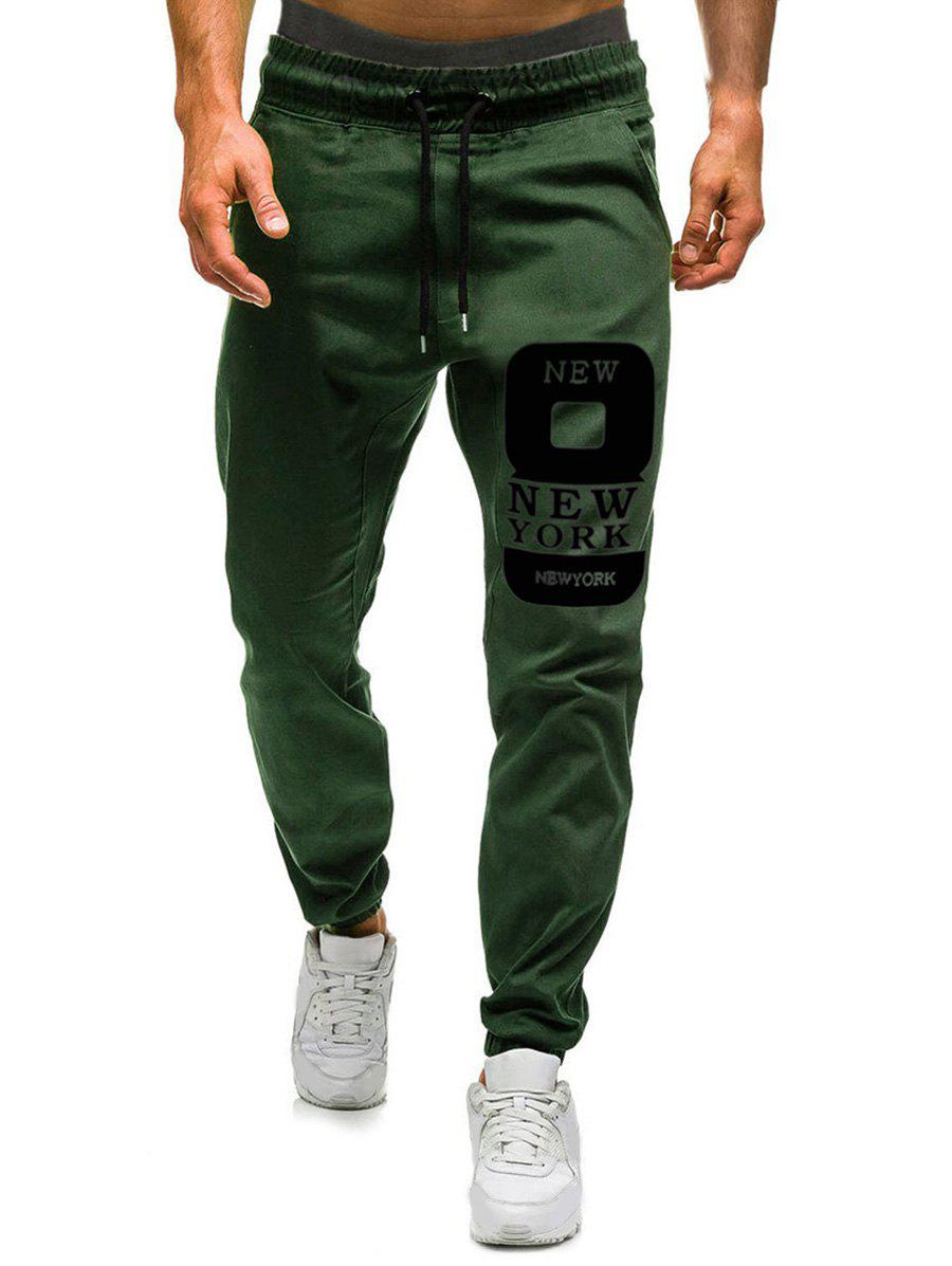 Number Eight Graphic Casual Jogger Pants - ARMY GREEN XL