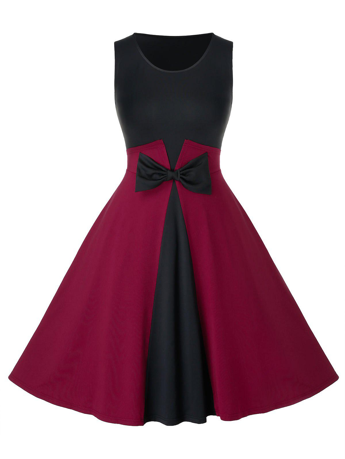 Plus Size Vintage Bowknot Two Tone Pin Up Dress - BLACK 2X