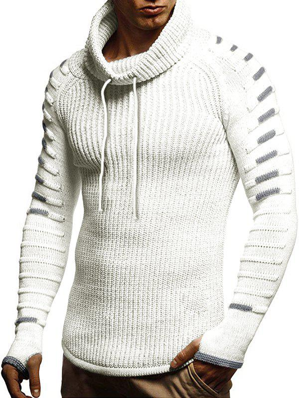 Raglan Sleeve Finger Hole Contrast Color Cowl Neck Sweater - WHITE XL