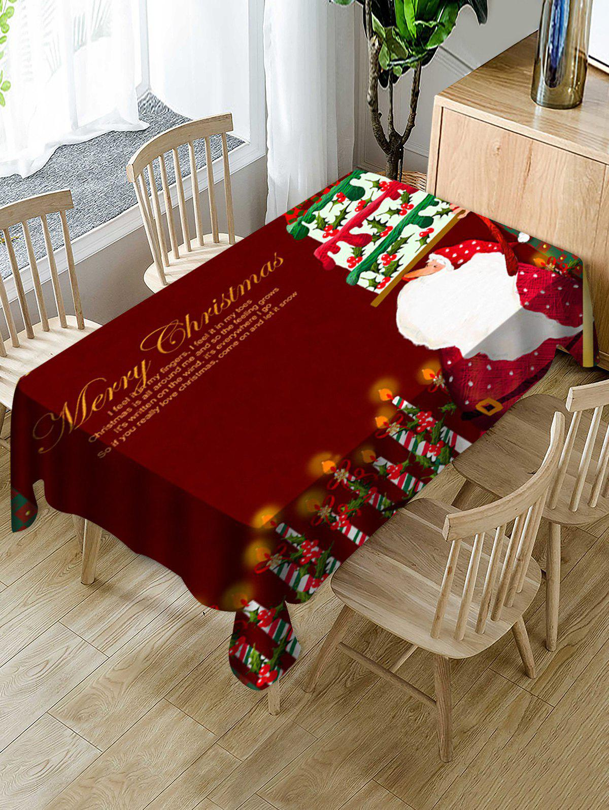 Merry Christmas Santa Claus Fabric Waterproof Table Cloth - multicolor W55 X L71 INCH