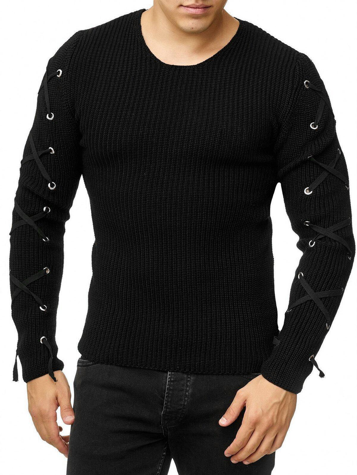 Lace Up Solid Color Pullover Sweater - BLACK L
