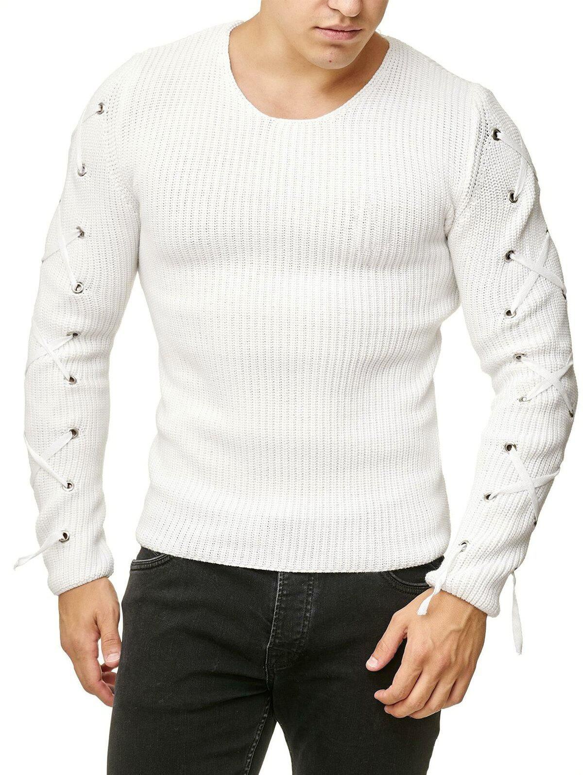 Lace Up Solid Color Pullover Sweater - WHITE L