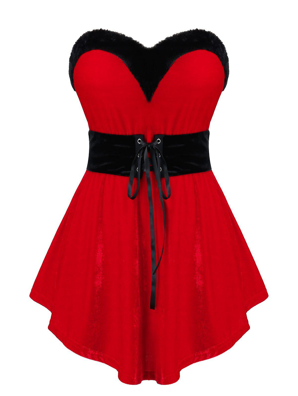 Plus Size Christmas Two Tone Velvet Lace Up Strapless Top - RED 1X