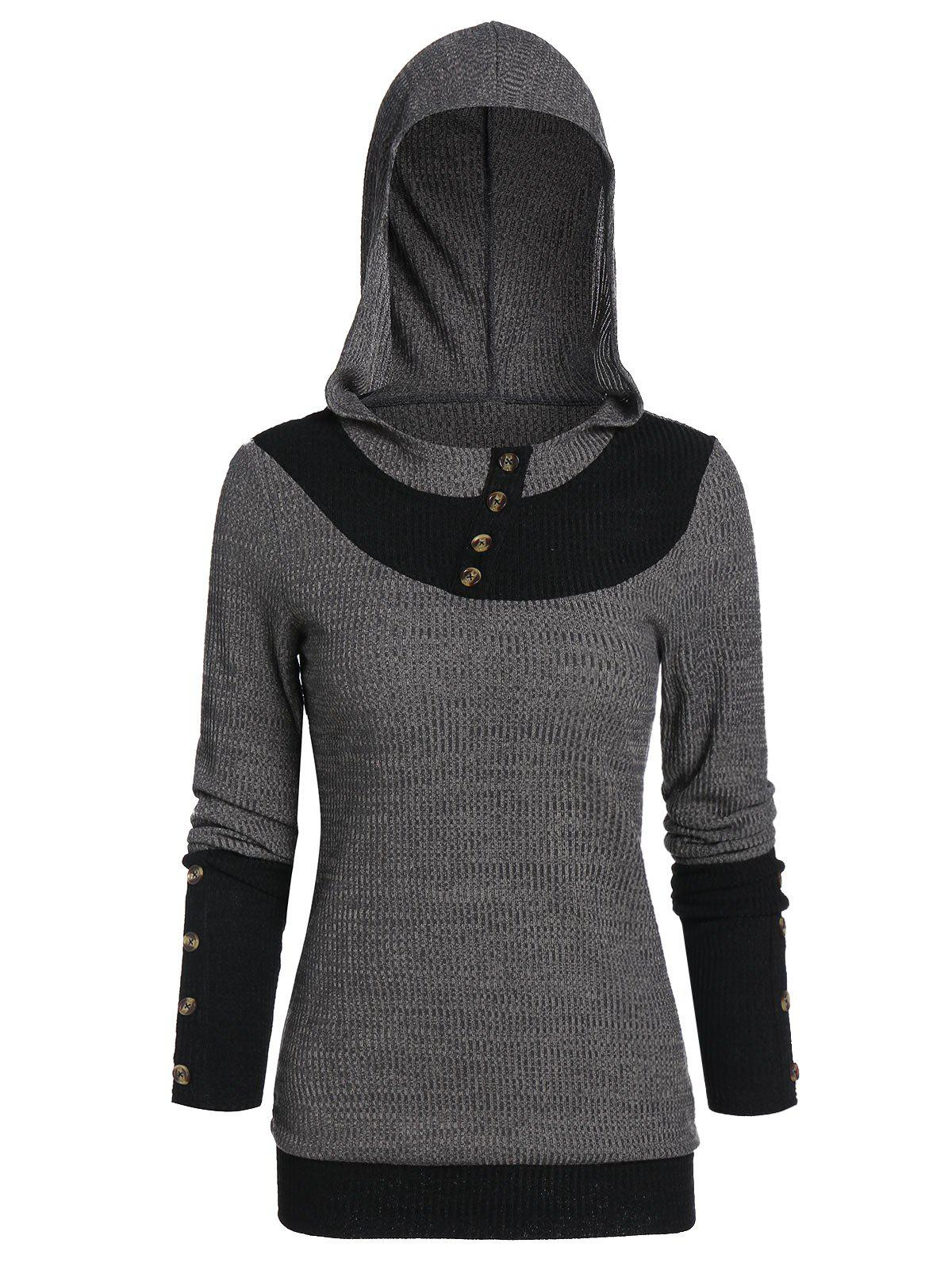 Hooded Button Embellished Contrast Ribbed Knitwear - ASH GRAY 3XL