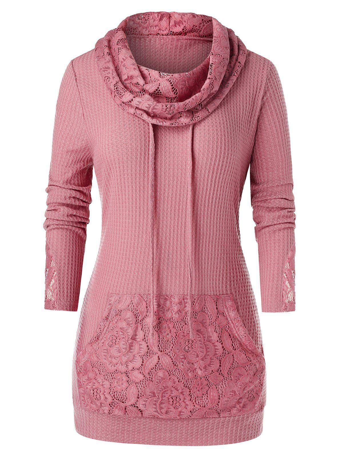 Plus Size Lace Panel Cowl Neck Drawstring Pocket Sweater - LIPSTICK PINK L