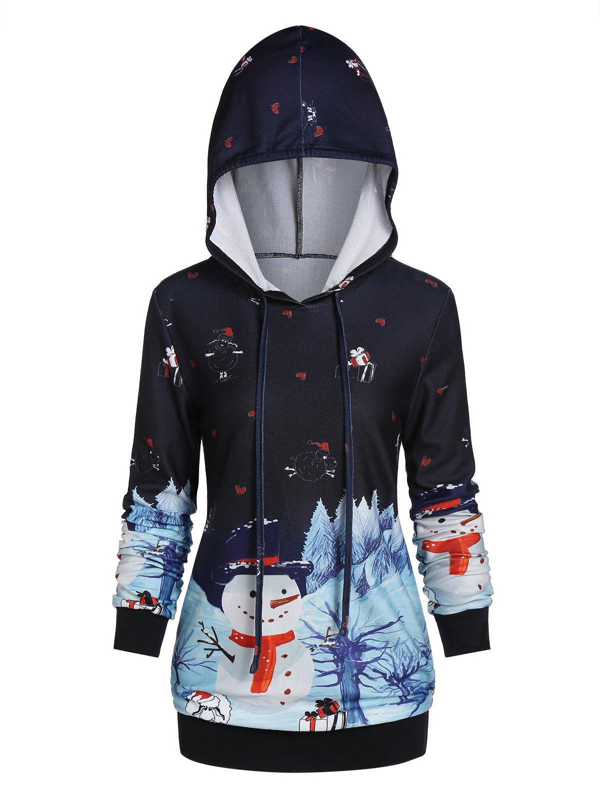Christmas Snowman Printed Pullover Hoodie - multicolor A L