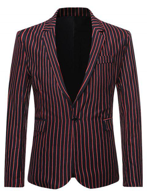 Stripes Flap Pocket Back Split Casual Blazer - BLACK L