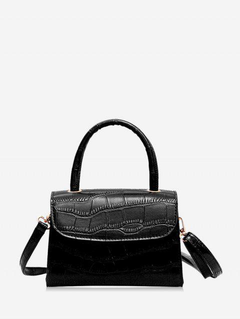 Leather Square Simple Solid Coin Crossbody Bag - BLACK