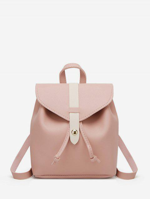 Portable Leather String Mini Backpack - ROSE