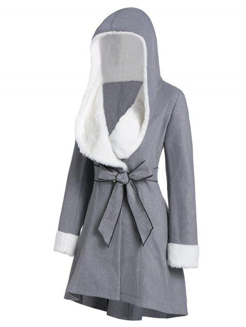 Two Tone Faux Fur Panel Coat with Belt - DARK GRAY 3XL