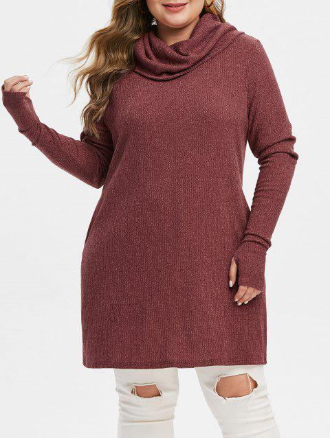 Plus Size Solid Turtleneck Tunic Sweater