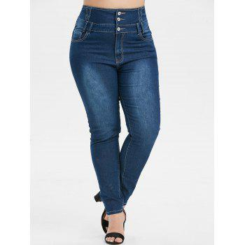 Plus Size Button Fly Faded Skinny Jeans