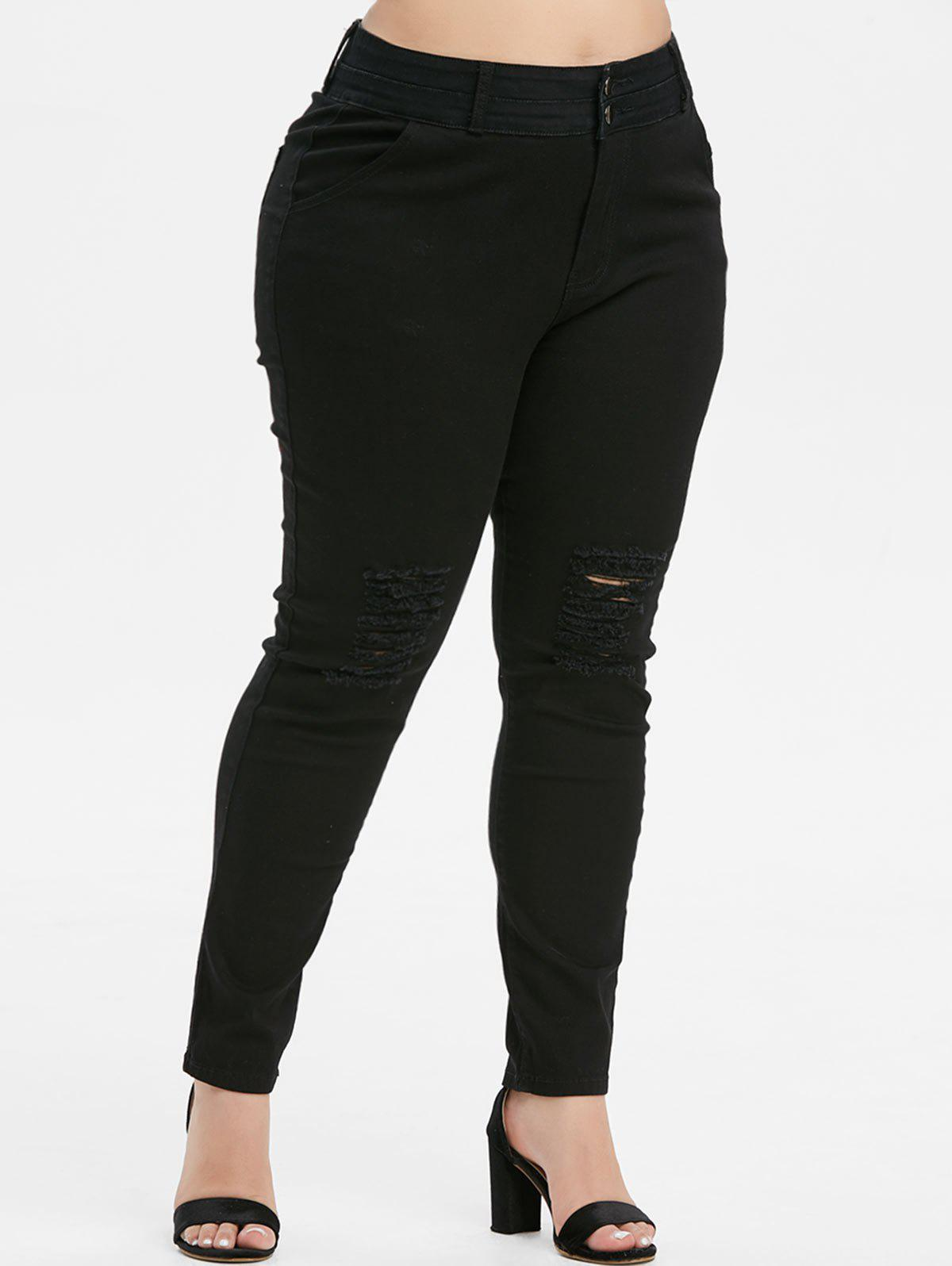Plus Size High Rise Skinny Ripped Jeans - BLACK 5X