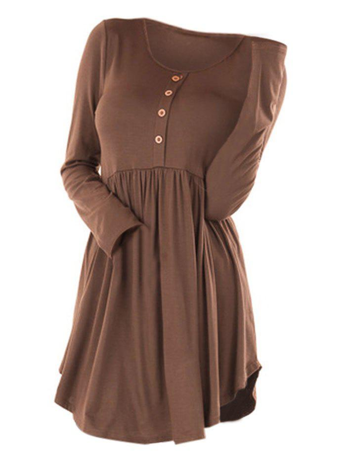 Plus Size Buttons Plain T Shirt - COFFEE 2X