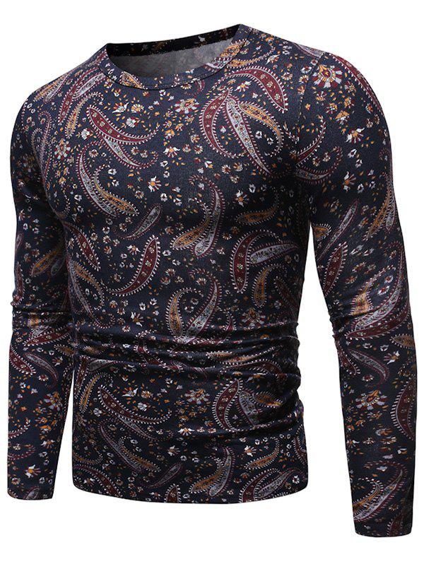 Paisley Pattern Round Neck Pullover Sweater - multicolor L