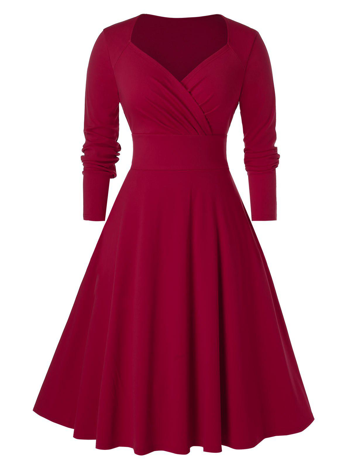 Plus Size Sweetheart Neck Midi Surplice Dress - RED WINE 4X