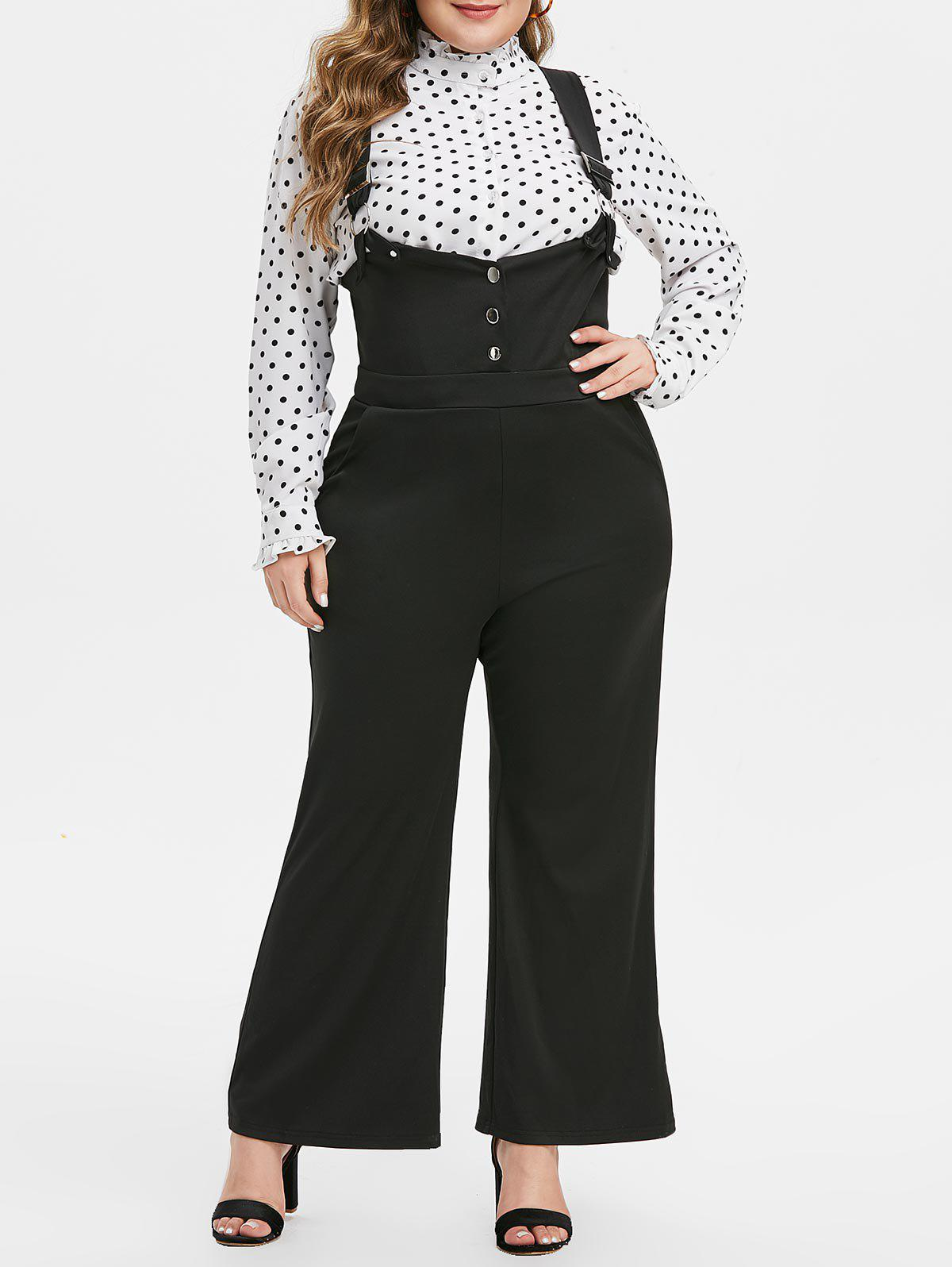 Plus Size Buckle Suspender Wide Leg Jumpsuit - BLACK 5X