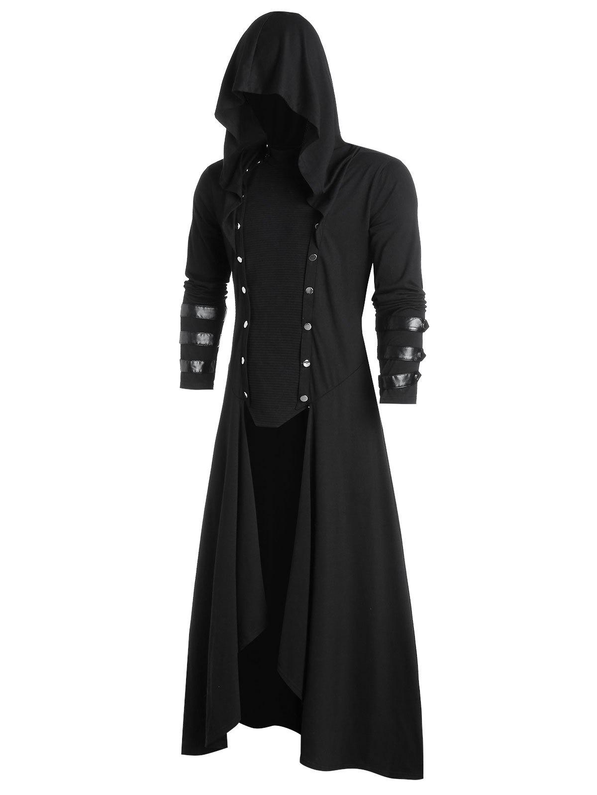Faux Leather Insert Button Up Gothic Hoodie - BLACK 2XL