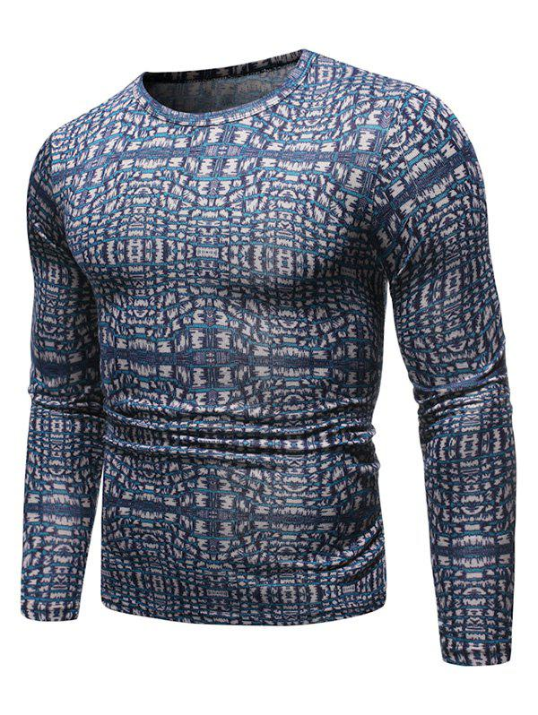Novelty Printed Round Neck Sweater - DEEP BLUE 2XL