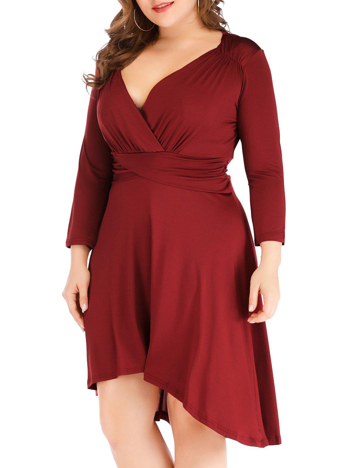 Cross High Low taille froncée Taille Plus Surplice Robe - Rouge Vineux 4X