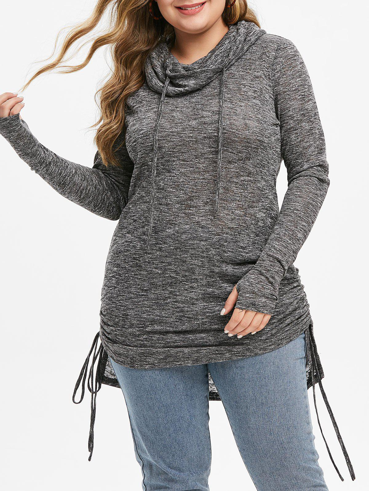 Plus Size Cowl Neck High Low Cinched Knitwear - DARK GRAY L