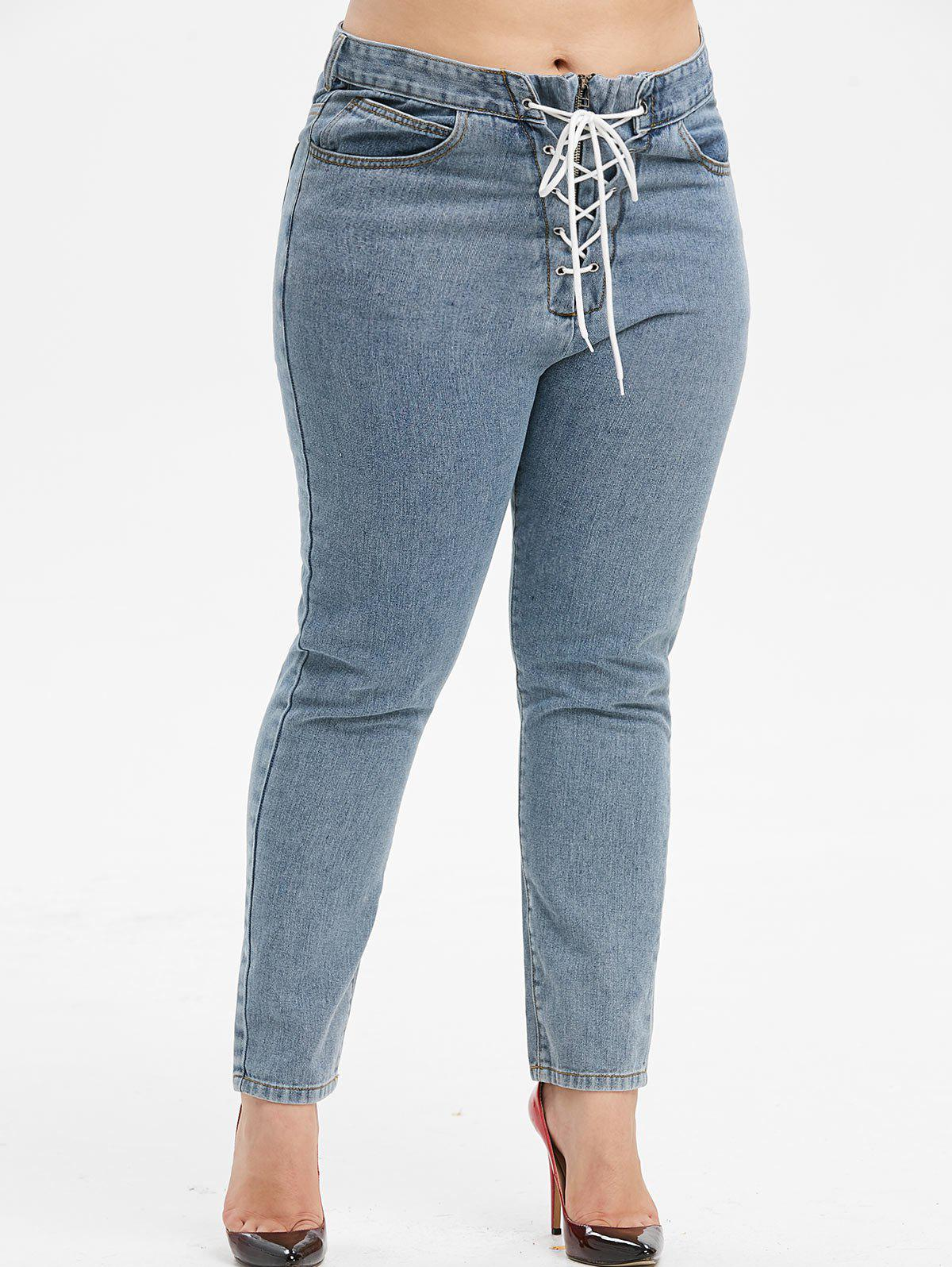 Plus Size High Rise Lace Up Jeans - MARBLE BLUE 5X
