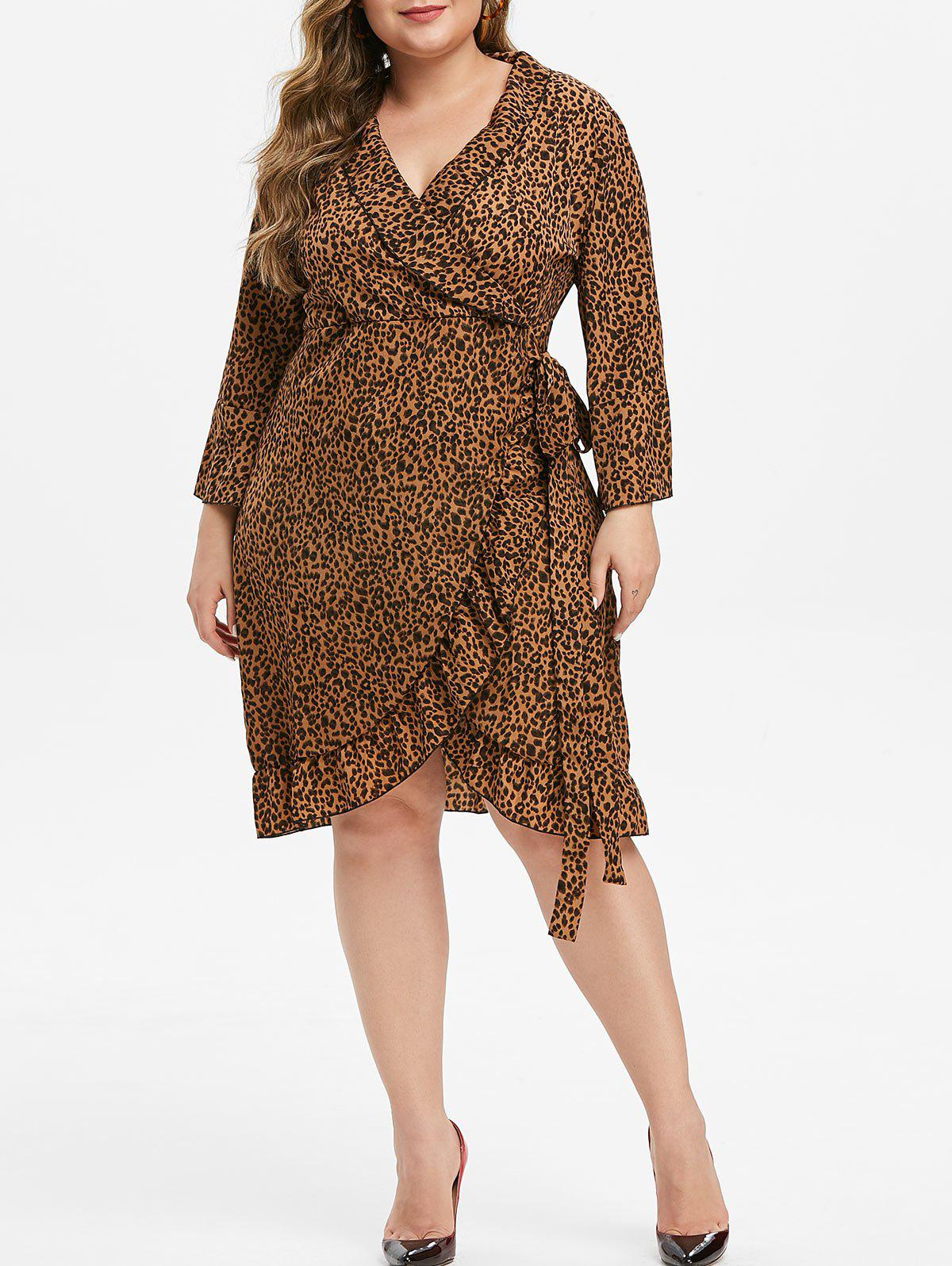 Leopard Ruffle Tie Plus Size Surplice Dress - BROWN 4X