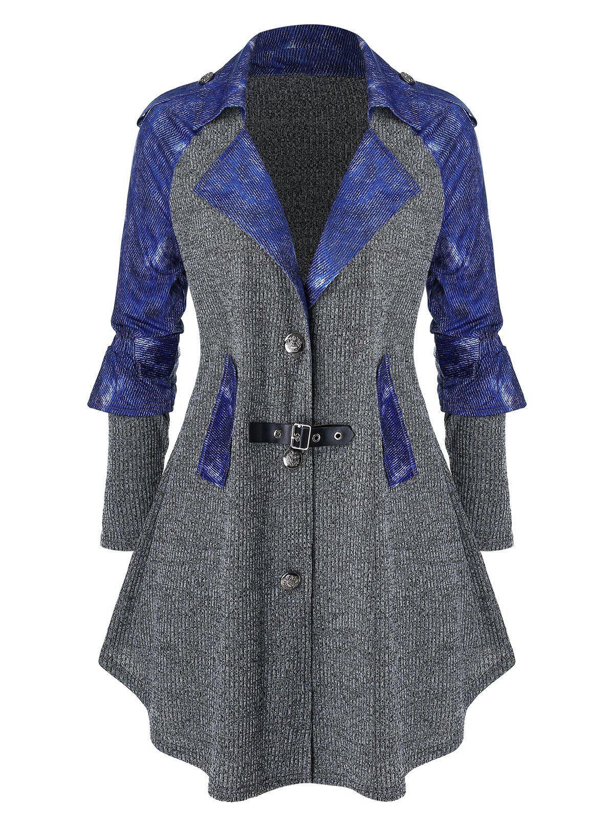 Plus Size Raglan Sleeve Contrast Denim Marled Knit Coat - CARBON GRAY 3X