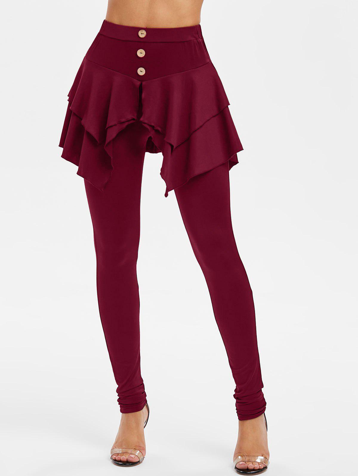 Button High Waist Skirted Skinny Pants - RED WINE M