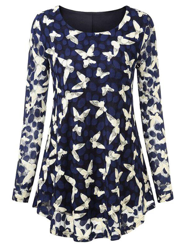 Plus Size Butterfly Lace Curved Blouse - DEEP BLUE 3X