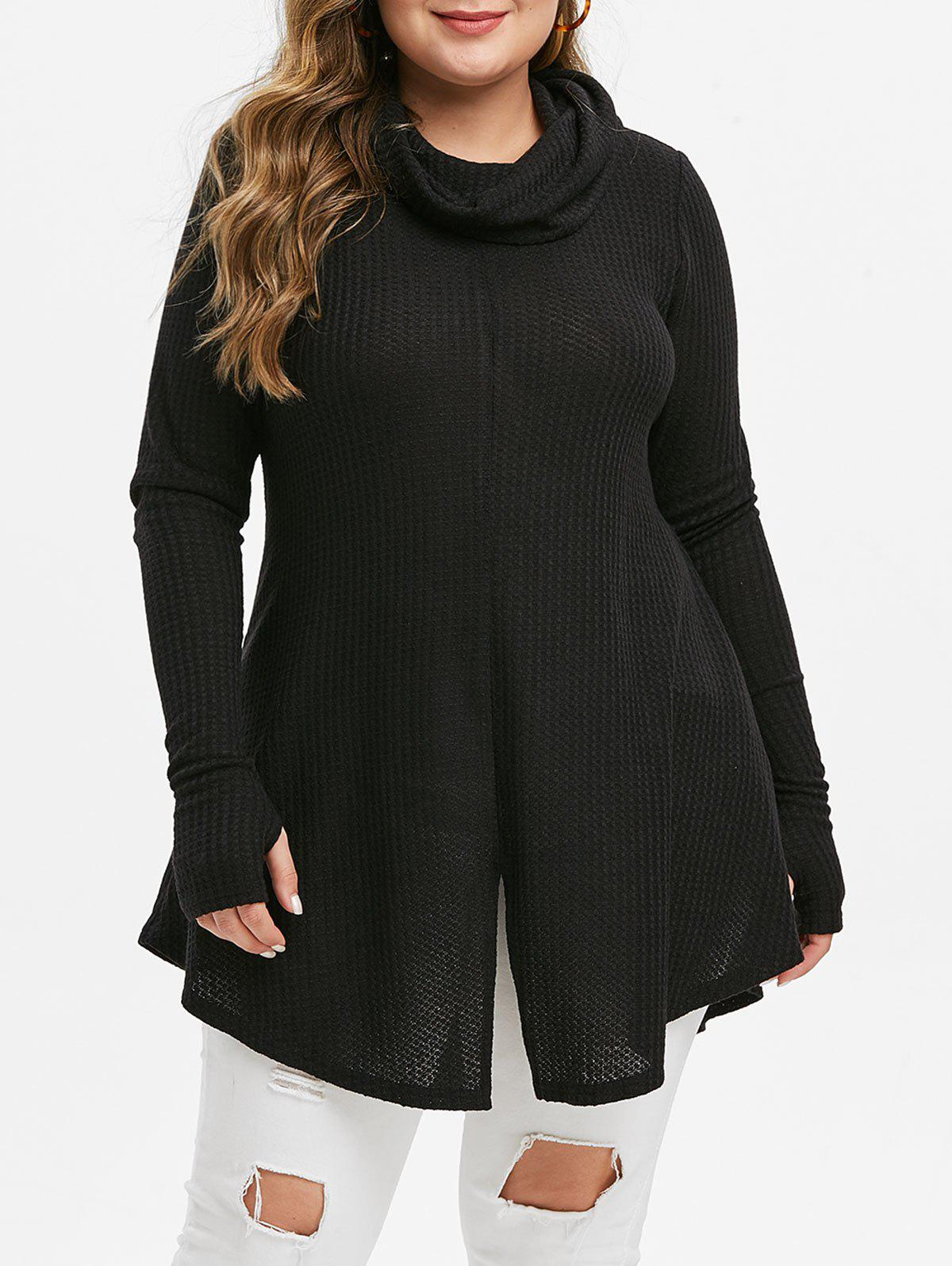 Plus Size Cowl Neck Slit Tunic Knitwear - BLACK 1X