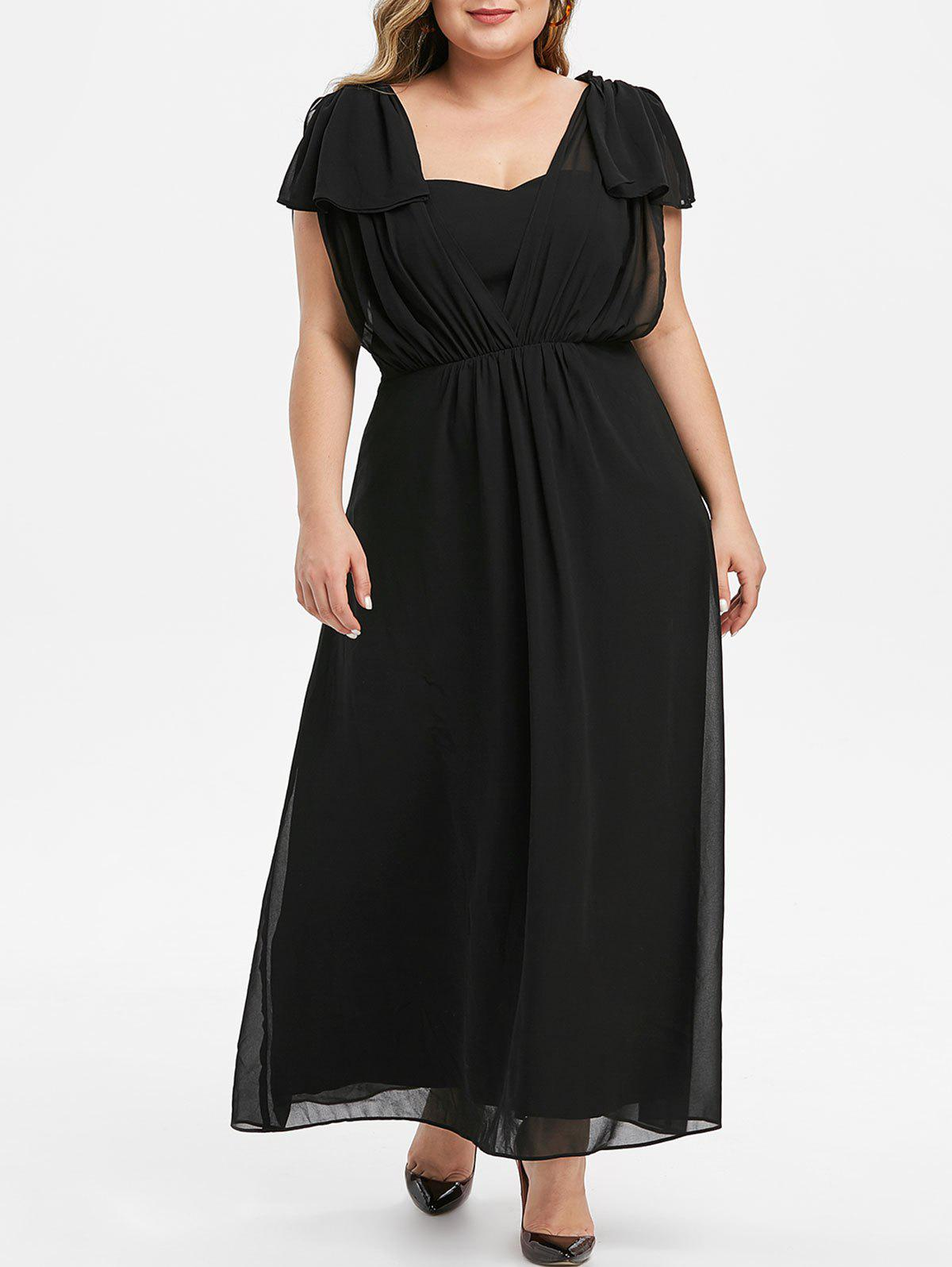 Plus Size High Waist Maxi Party Dress - BLACK 1X
