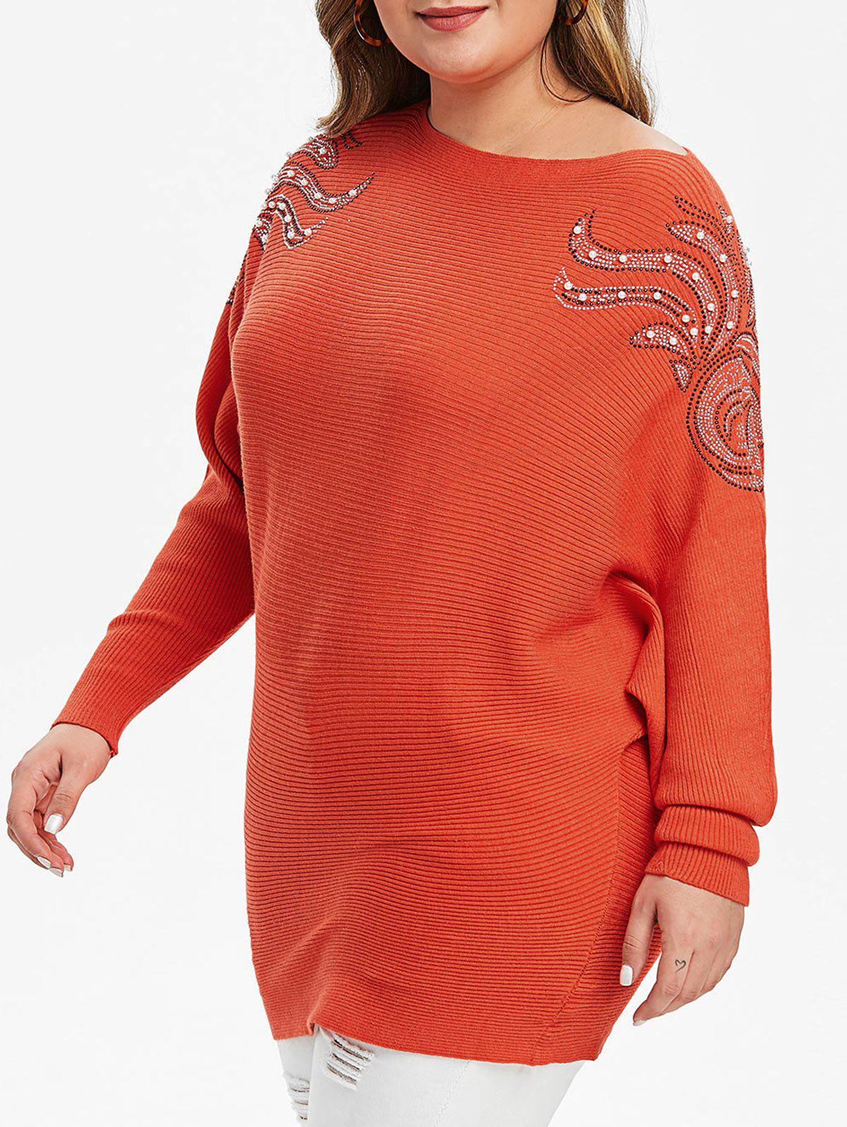 Plus Size Pull à manches strass Batwing - Orange 1X