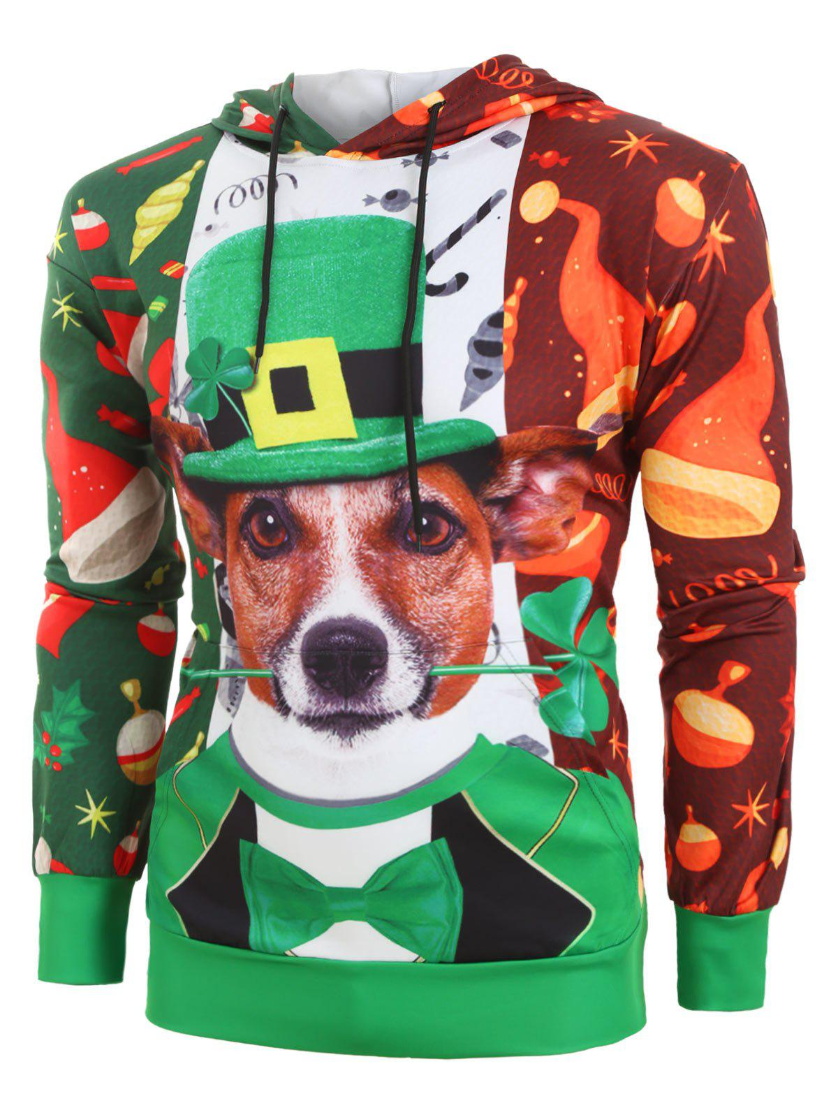 Plus Size Christmas Dog Print Kangaroo Pocket Pullover Hoodie - multicolor 5XL