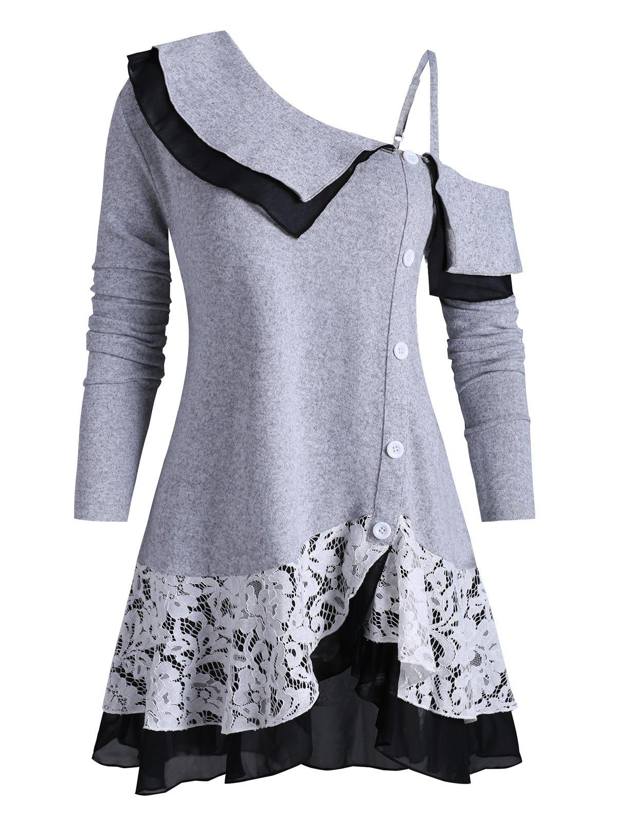 Open Shoulder Buttoned Lace Panel Tiered Plus Size Knitwear - GRAY CLOUD 1X