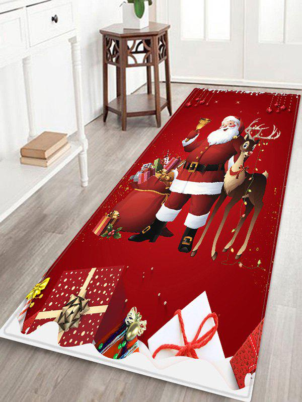 Christmas Santa Claus Deer Pattern Print Flannel Floor Mat - RED W24 X L71 INCH