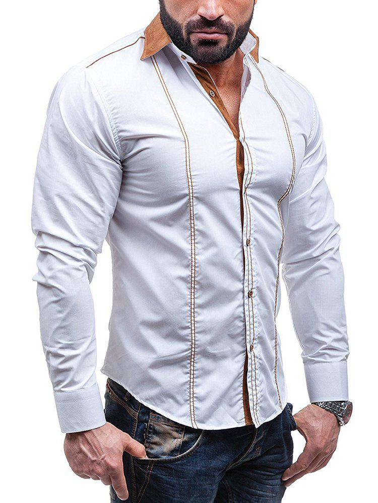 Faux Suede Collar Button Up Long Sleeve Shirt - WHITE 3XL