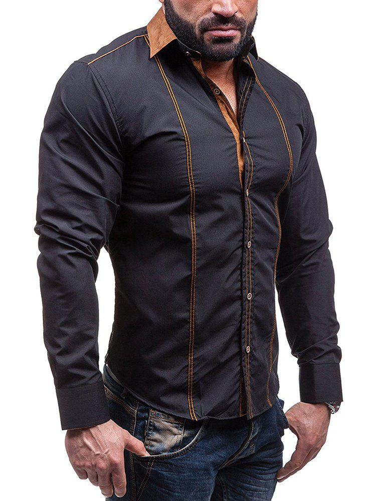 Faux Suede Collar Button Up Long Sleeve Shirt - BLACK M