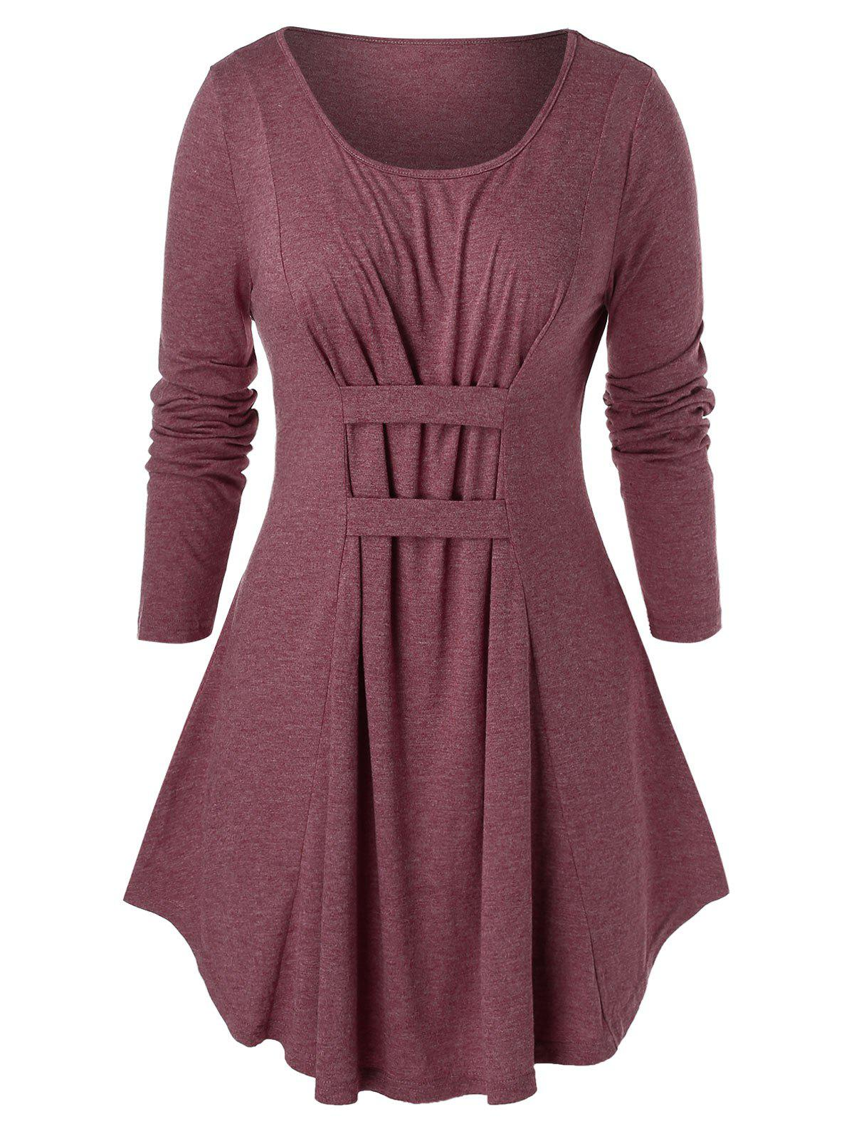 Plus Size Space Dye Tunic Round Collar T Shirt - CHERRY RED 4X
