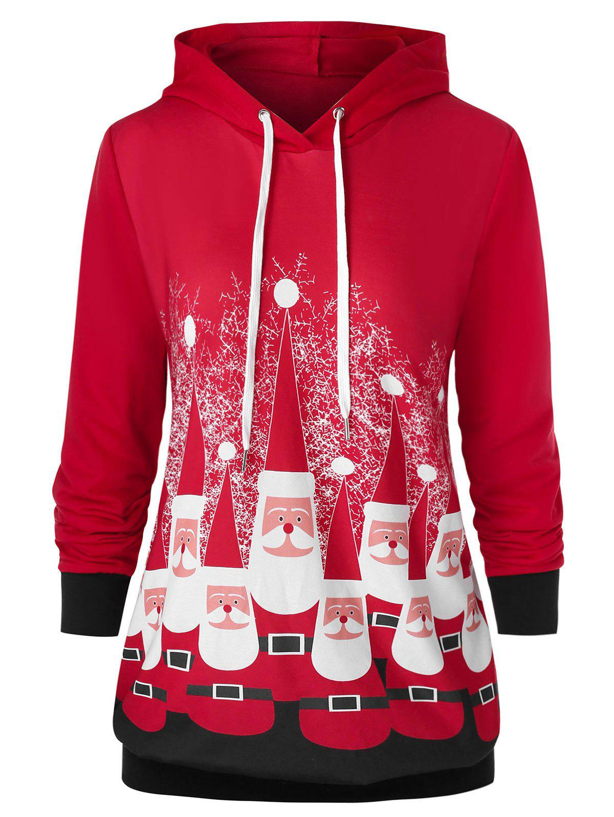 Plus Size Drawstring Santa Claus Print Christmas Hoodie - RED L
