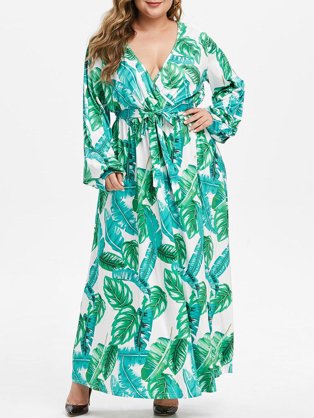 Leaves Print Long Sleeve Belted Plus Size Maxi Dress - GREEN L