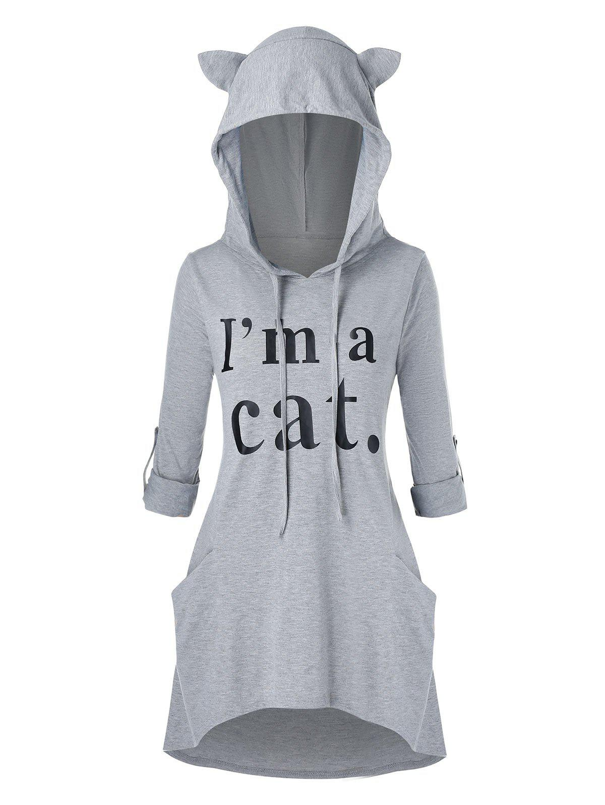 Plus Size Roll Up Sleeve Cat Ear High Low Graphic Hoodie - DARK GRAY 2X
