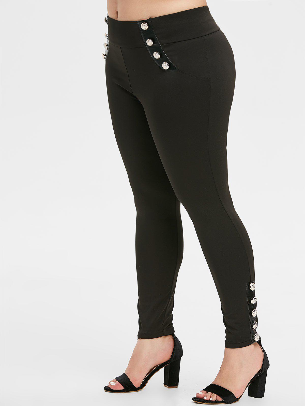 Plus Size Buttons High Waist Skinny Pants - MIRROR BLACK L