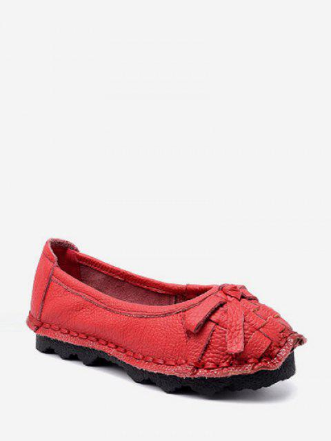 Braid Round Toe Bowknot Slip On Flat Shoes - RED EU 38