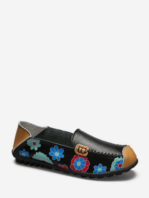 Floral Print Slip On PU Leather Flat Shoes - BLACK EU 44