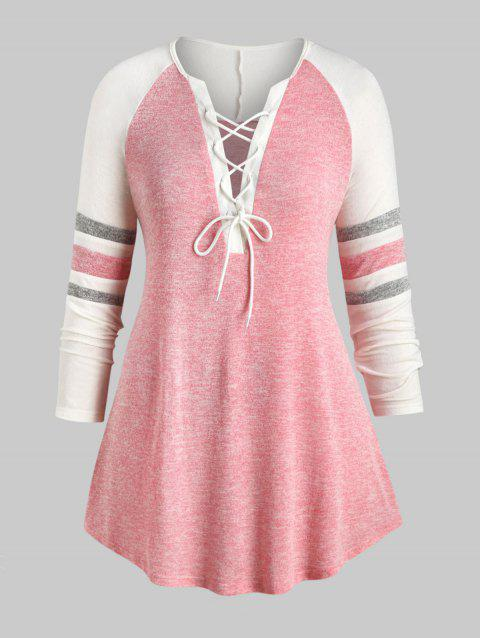 Plus Size Lace Up Heathered Striped Longline Tee - PINK 2X