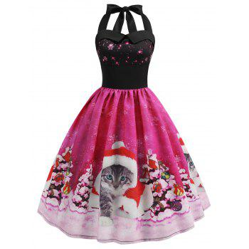 Christmas Cat Smocked Halter Party Dress