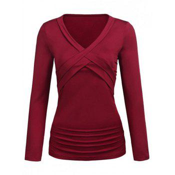 Plus Size Ruched Crossover T Shirt