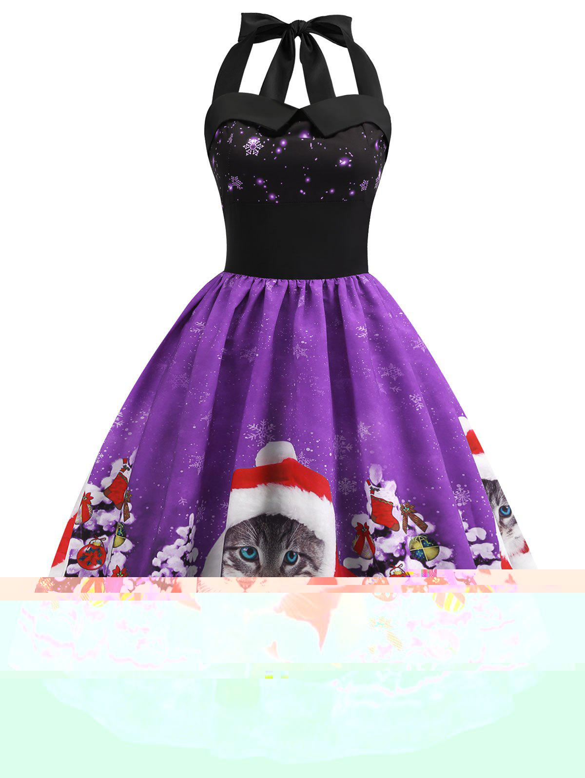 Christmas Cat Smocked Halter Party Dress - PURPLE L