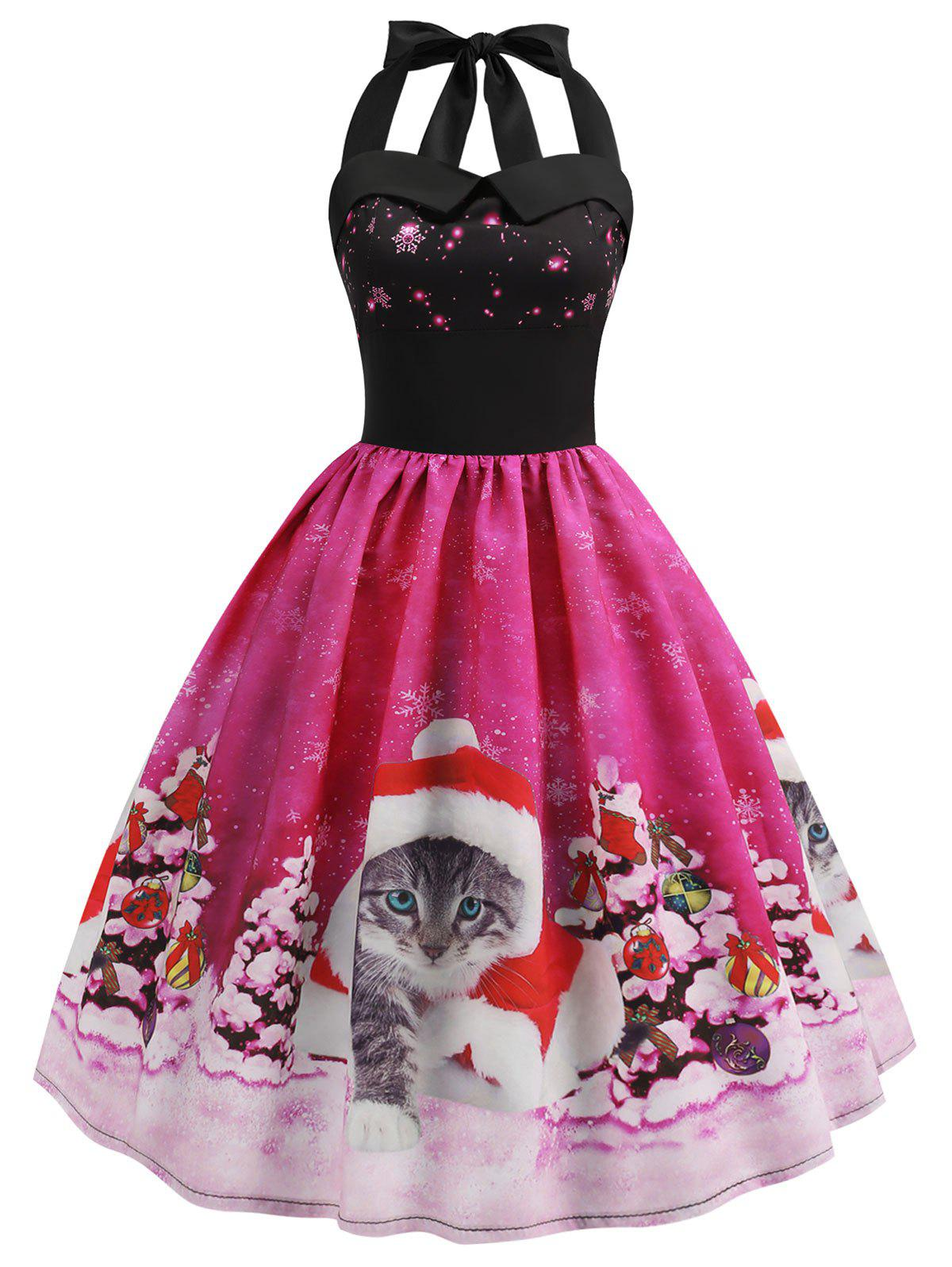 Christmas Cat Smocked Halter Party Dress - DEEP PINK L